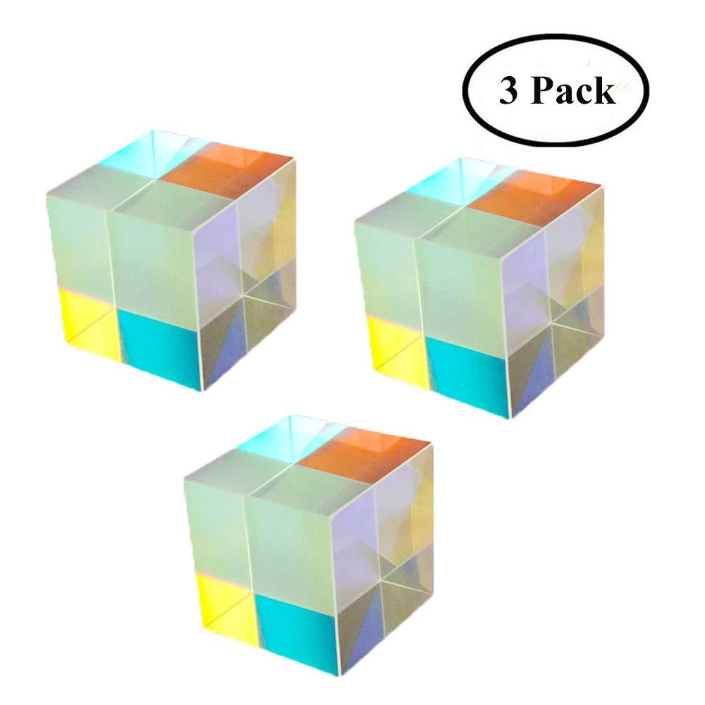 Yunhigh vetro ottico prisma triangolare cristallo arcobaleno creatore di arcobaleno per l'insegnamento di fotografia di spettro di luce fisica prisma, 2 pacco