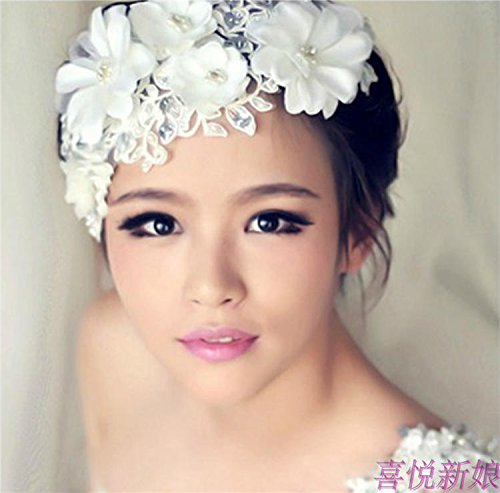 TKHNE 韓国 ブライダル ヘッドドレス ハンドメイドレース ブライダルヘアアクセサリー ヘッドフラワー 結婚式 結婚式 結婚式 披露宴用品 Yiwu