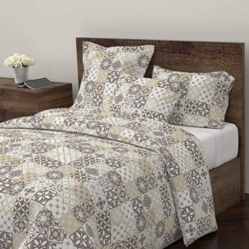 Roostery Catalina Tiles Duvet Cover Catalina Tiles Ornate Neutral Neutral Geometric Tiles Ornate Home Decor Blocks by Delinda Graphic Studio 100% Cotton Queen Duvet Cover ()