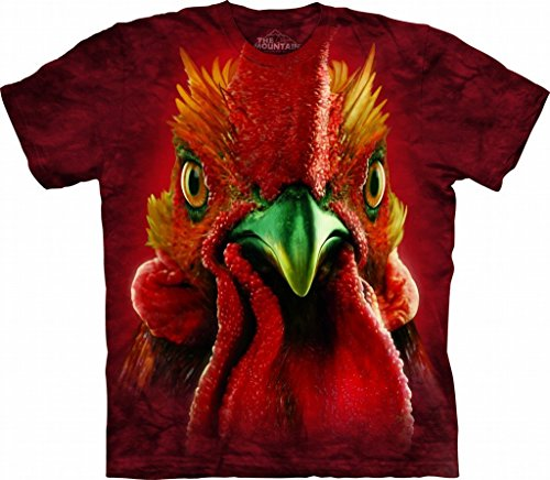 Rooster Head Medium Cotton Roosters T-Shirt Red Adult Men's Women's Short Sleeve T-Shirt