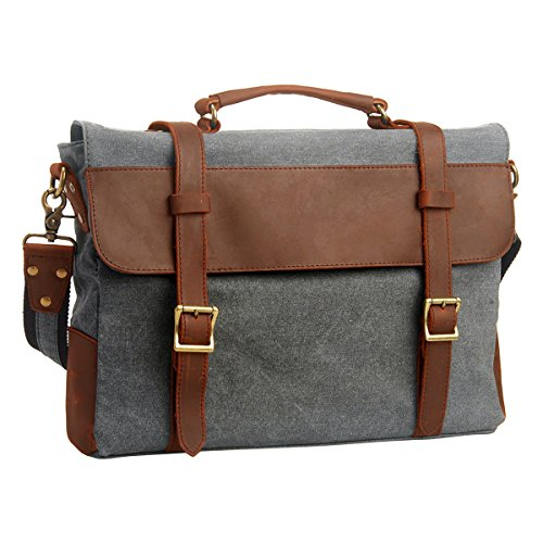 Hynes Eagle Retro Business Briefcases Canvas Leather Messenger Bag (Light Grey)