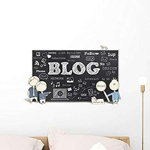 Wallmonkeys Social Media with Blogging Peel and Stick Wall Decals WM135794 (24 in W x 14 in H) - Mens Social Web