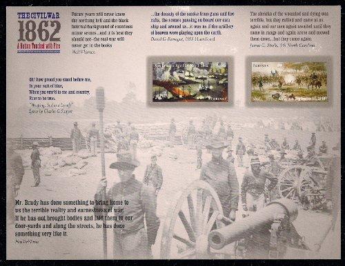 The Civil War 1862 New Orleans & Antietam Sheet of 12 Forever Stamps Scott 4664-4665 by (Civil War Sheet)