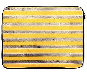 Loud Universe Vintage Golden Yellow Grey Stripe Pattern Laptop Sleeve - 12 inch