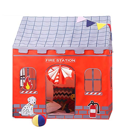 (LWKBE Fire Station Play Tent Kids Pretend Playhouse Role Play Fun as Fireman Sam,Use Indoor/Outdoor for Boys Girls Kids or Pets Gift)