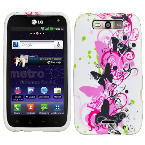 4 items Combo: Mini Stylus Pen + LCD Screen Protector Film + Case Opener + Black Pink Butterfly Paisley Flower Vine Design Rubberized TPU Skin Phone Case for MetroPcs LG Connect 4G MS840 / Sprint LG Viper LS840 (Lg Viper Screen Protector compare prices)