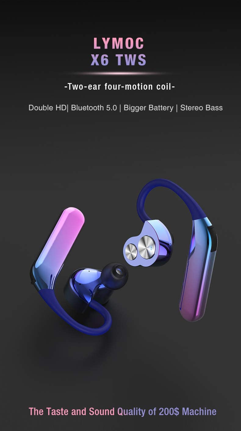 RONSHIN Headphones//Earphones//Earbuds Cross-Border New X6 Wireless Bluetooth Headset TWS Bilateral Stereo Hanging Type 5.0 Sports Waterproof Headphones Ivory White