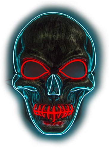 (Men's Light Up LED Scary Death Skull Mask for Halloween Gift (Red/Blue Light Up Skull)