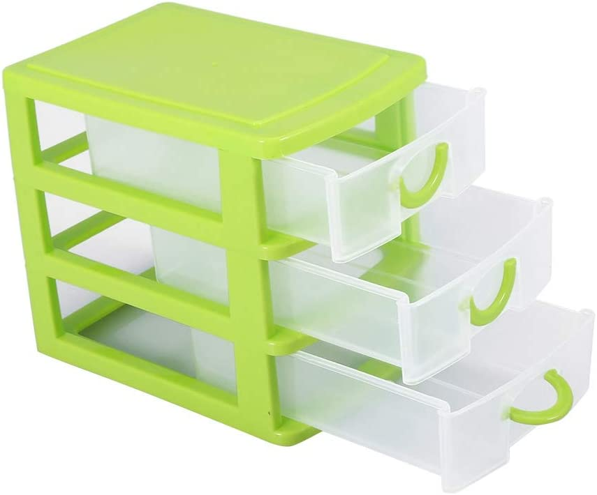 Mini Drawer Organizer, Plastic Jewelry Makeup Storage Box with Adjustable Detachable Dividers for Small Accessories (3 Layers Green)