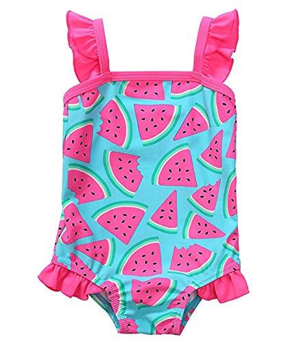 Ruffle Swimsuit One Infant Piece (waliwali Newborn Baby Girl Swimsuit Watermelon Print Bikini Ruffles Sleeve Backless Swimwear One-Piece Bathing Suit(6-12Months) Blue)