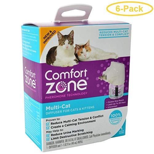 Comfort Zone Pheromone Multicat Calming Diffuser 1 Count - (1 Diffuser & 1 Refill) - Pack of 6