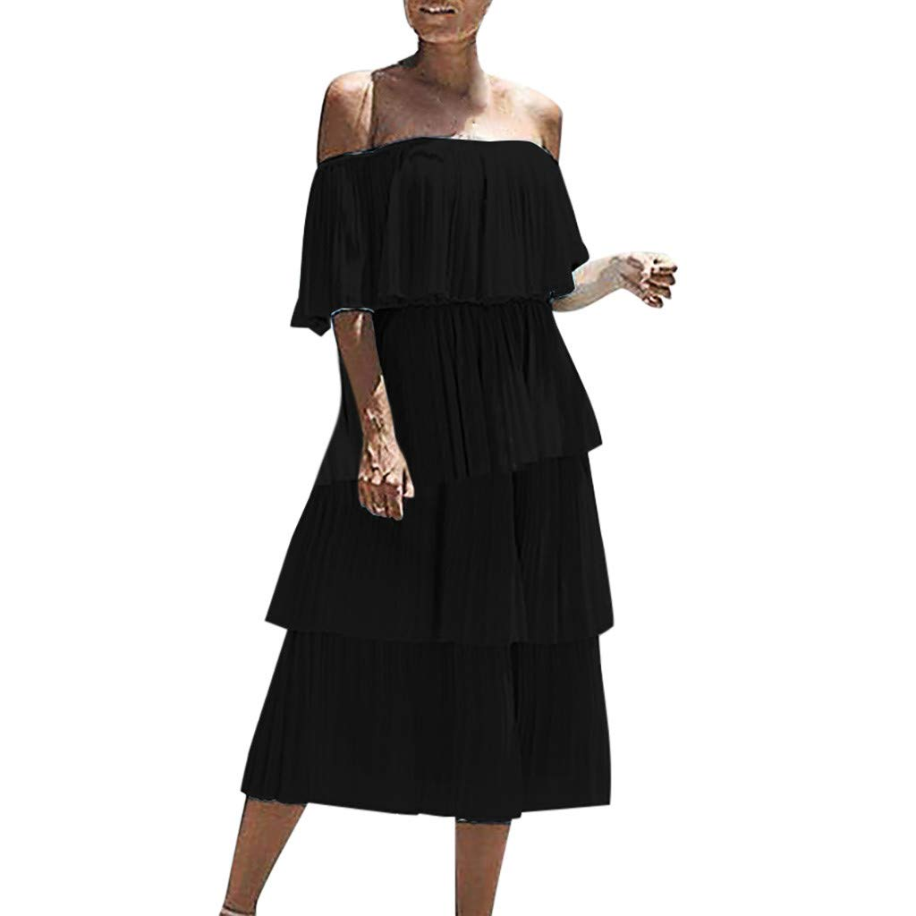 Women Chiffon Off Shoulder Ruffles Solid Evening Party Layered Dress Slash Neck Beach Cocktail Sundress (S, Black) by Sunsee-dress