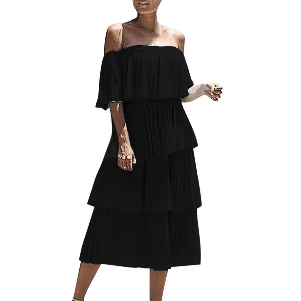 Women Chiffon Off Shoulder Ruffles Solid Evening Party Layered Dress Slash Neck Beach Cocktail Sundress (S, Black)
