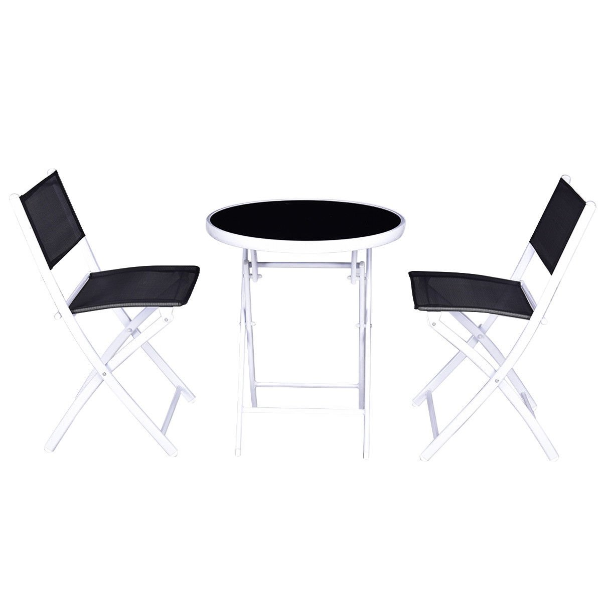 ModHaus Living Modern Folding Bistro Table Chairs Set with Glass Tabletop and Steel Frame - Includes Pen