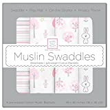 SwaddleDesigns Set of 4 Muslin Swaddle Blankets, Pink Thicket