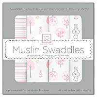 SwaddleDesigns Cotton Muslin Swaddle Blankets, Set of 4, Pink Thicket