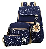 Tibes Canvas Laptop Backpack for Women Blue