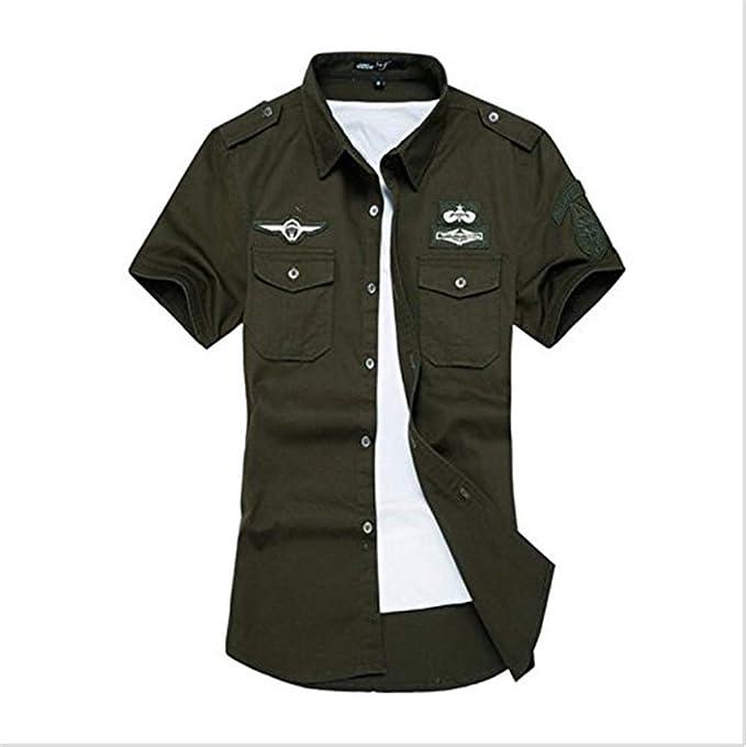 Camisas para Hombre Verano Camisa De Manga Corta Al Ropa Aire Libre Camisa Militar Tops Oversize Ocio Moda Solapa Deportes Movimiento Tops: Amazon.es: Ropa ...