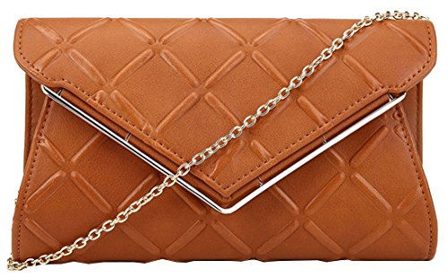 Embossed Cross Strap (Kukubird Liv Embossed Cross Hatch Prom Party Metal V Detail Chain Shoulder Strap Clutch Bag Purse with Kukubird Dustbag - Brown)