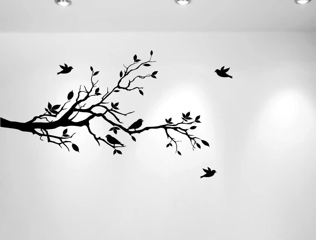 """Tree Branches Wall Decal Love Birds Vinyl Sticker Nursery Leaves 56"""" Wide X 28"""" High (Left to Right, Matte Black)"""
