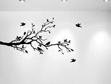 High Quality Tree Branches Wall Decal Love Birds Vinyl Sticker Nursery Leaves 56u0026quot;  Wide X 28u0026quot;