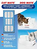 Cat Mate Genuine Replacement Filter Cartridges for use with and Dog Mate Pet Fountains – Pack of 6