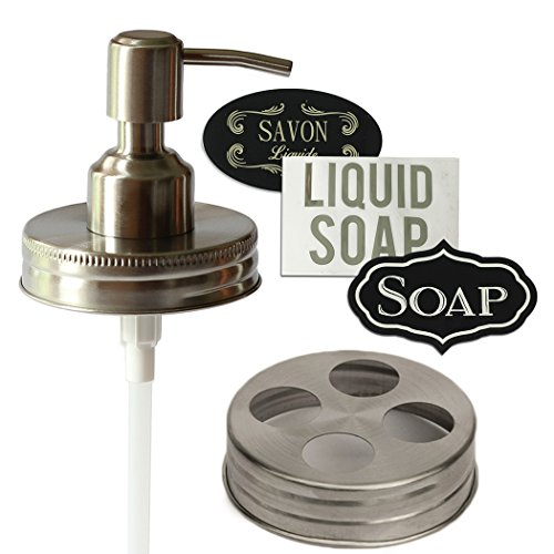 [Premium Rust Free Stainless Steel Mason Jar Soap Dispenser Bathroom Set (1 Soap Lid-1 Toothbrush] (Homemade Halloween Decorations Made From Paper)