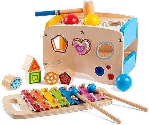 0e5ebf27128176 Upstudio Pädagogisches kreatives Holzspielzeug Kreatives hölzernes  lernendes hämmerndes u. Stampfendes Spielzeug scherzt Spielwaren