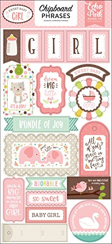 Echo Park Paper Company Sweet Baby Girl 6x13 Chipboard Phrases