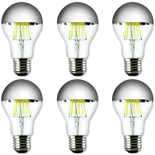 Led A60Couronne Argent Miroir Réflecteur ampoules 60W Ampoule à incandescence équivalent E27Blanc lumière du jour Dimmable [Lot de 6]