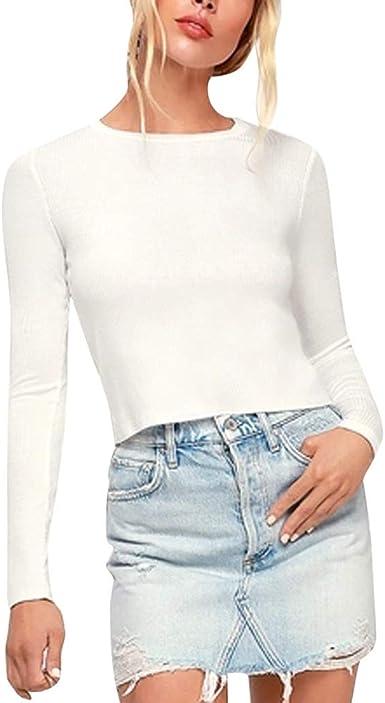 Camisas de Muje Moda Mujer Top Blusas de Fiesta O-Cuello ...