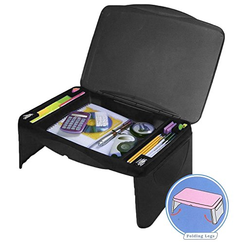 Folding Lap Desk, laptop desk, Breakfast Table, Bed Table, Serving Tray - The lapdesk Contains Extra Storage space and dividers, & folds very easy,great for kids, adults, boys, girls]()