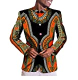 Highisa Men Mulit Color Wrap Dashiki Africa Single Breasted Fashion Blazer 3 M