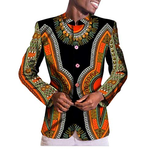 Highisa Men Mulit Color Wrap Dashiki Africa Single Breasted Fashion Blazer 3 M by Highisa