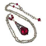 Swarovski-Elements-Ruby-Red-Birthstone-Baroque-Crystal-Filigree-Pendant-Jewelry-Necklace
