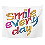 Emvency Tapestry Funny Inspirational Quote Smile Every Day Modern Lettering Unique Home Decor Wall Hanging for Living Room Bedroom Dorm 60x80 Inches