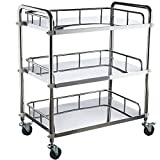 Miidii Stainless Steel Three Layers Hospital Medical Dental Equipment Cart Trolley