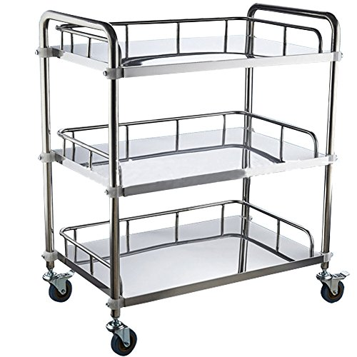 Miidii Stainless Steel Three Layers Hospital Medical Dental Equipment Cart Trolley by Miidii