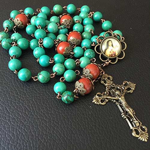 de Red Carnelian Beads & Howlite Bead Catholic Rosary Antiqued Bronze Crucifix Necklace Jesus Cross Gift Box ()