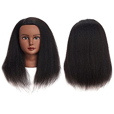100% Real Hair Mannequin Head Training Head Cosmetology Manikin Practice Head Doll Head With Free Clamp Female