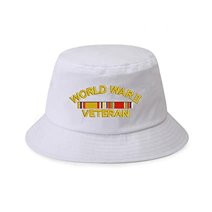 8e6dd99782926 Amazon.com  Military World War 2 Veteran 100% Cotton White Bucket ...
