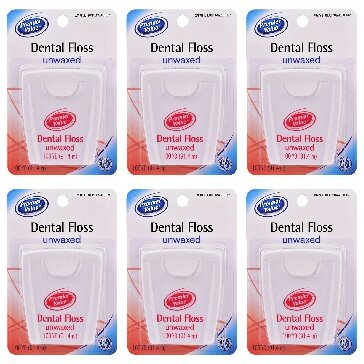 Premier Value Dental Floss Unwaxed - 100 yd (Pack of 6)
