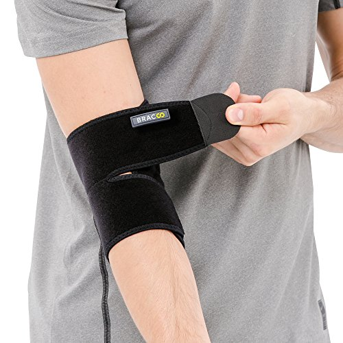 Bracoo Elbow Support, Reversible Neoprene Support Brace for Joint, Arthritis Pain Relief, Tendonitis, Sports Injury Recovery, ES10, Black, 1 (Neoprene Elbow Support)