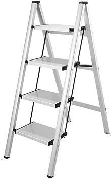 Extensibles 2/3/4 Escalera de mano Multifunción Hogar Hogar Escalera Pliegue Aleación de aluminio Almacenaje Taburete de caballo (Color : Silver, Size : 4 tier): Amazon.es: Bricolaje y herramientas