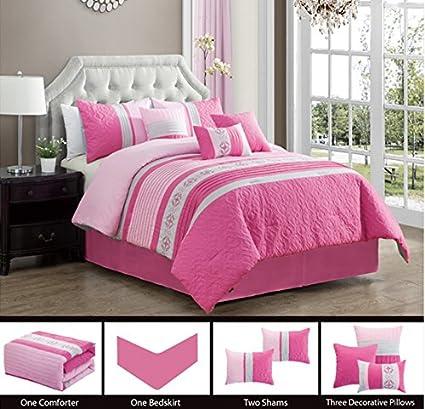 1f6a4318ab10 Amazon.com  Modern 7 Piece Bedding HOT PINK