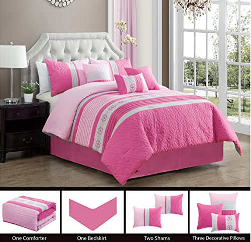 Grand Linen Modern 7 Piece Queen Bedding Pink, White Adya Pin Tuck, Embroidered and Embossed Comforter Set with Accent Pillows