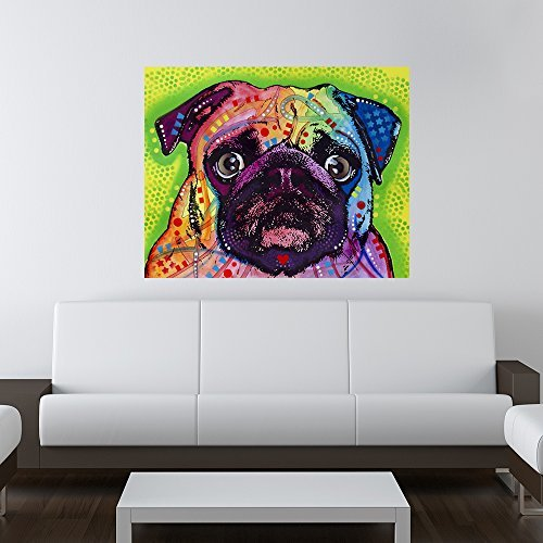 19 Wall Sticker - My Wonderful Walls Animal Pop Art by Dean Russo Pug Dog Wall Sticker Decal, 19 by 15-Inch, Multicolored