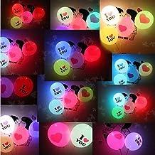 PINZANinF 5psc Valentine's Day Lighting Balloon I LOVE YOU LED Luminous Balloon Giant Heart(Random Color)