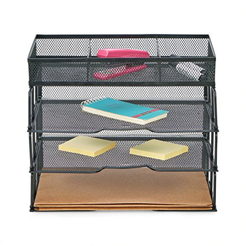ProAid Mesh Office Desk Organizer 3-Tier Stackable Letter Tray Organizer Sorter with 3 Compartments, Black by ProAid (Image #5)