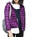 HENGJIA Women's Winter Lightweight Packable Jacket Hood Down Puffer Stylish Coat Violet Asia 3XL/US 2XL